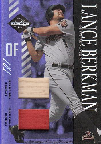 Photo of 2003 Leaf Limited TNT Prime #147 L.Berkman Socks Bat-Jsy