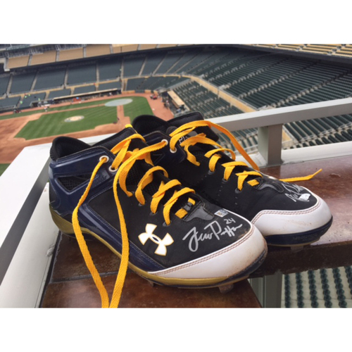 Photo of Support Pediatric Cancer: Children's Cancer Awareness Game-Used Cleats Worn and Autographed by Trevor Plouffe