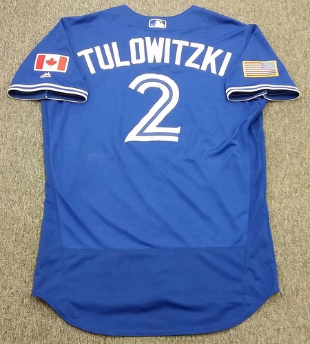Photo of Authenticated Game Used 2016 Independence Day Jersey - Troy Tulowitzki. Tulowitzki went 2-for-3 with 1 Run, and 1 walk.