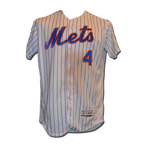 Photo of Wilmer Flores #4 - Game Used White Pinstripe Jersey - 2-5, HR, 4 RBI - Mets vs. Pirates - 6/15/16