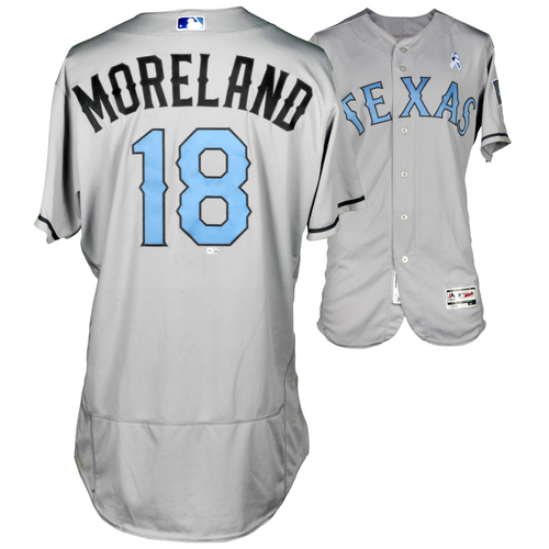 Photo of Mitch Moreland Texas Rangers Game-Used Grey #18 Father's Day jersey vs St Louis Cardinals on June 19, 2016