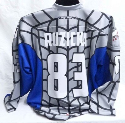 Adam Ruzicka Game Worn Spiderman Themed Jersey