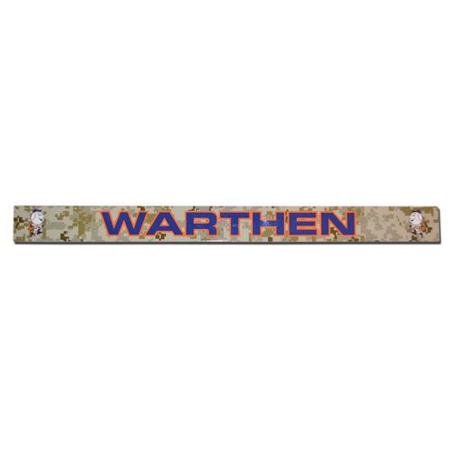 Photo of Dan Warthen #58 - Game Used Camouflage Locker Nameplate - Mets vs. Pirates - 5/26/14