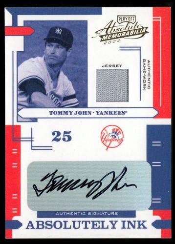 Photo of 2004 Absolute Memorabilia Absolutely Ink Material #117 Tommy John Jsy/100