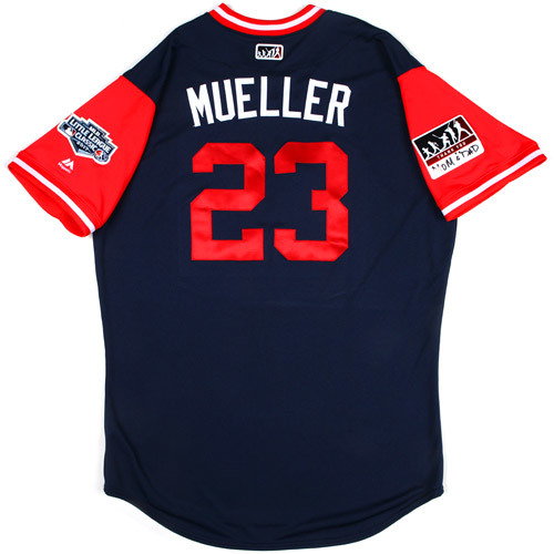 "Photo of St. Louis Cardinals Game-Used Little League Classic Jersey -  Bill ""Mueller"" Mueller #23"