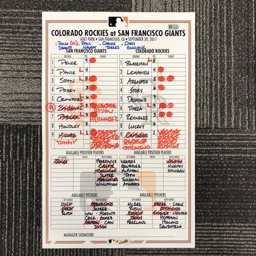 Photo of San Francisco Giants - HOLIDAY STEALS - 2017 Lineup Card - Colorado Rockies at San Francisco Giants - September 20, 2017 - Matt Moore - 6.0IP, 6 K's, 2BB, WIN - Brandon Crawford - 1-3, HR, 1RBI, 1R, 1BB - Joe Panik - 3-4, 1 RBI, 2 R