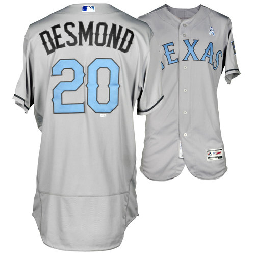 Photo of Ian Desmond Texas Rangers Game-Used Father's Day Jersey vs St. Louis Cardinals on June 19, 2016