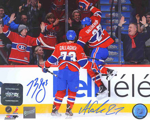 Brendan Gallagher & Alex Galchenyuk - Signed 8x10 Photo - 1st Point & Goal - Montreal Canadiens