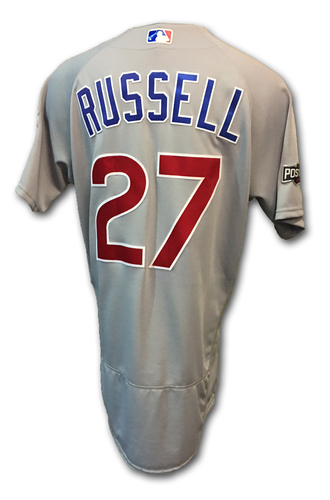 Photo of Addison Russell Game-Used Jersey -- NLDS Game 4 -- Cubs Clinch NLDS -- Cubs at Giants -- 10/11/16