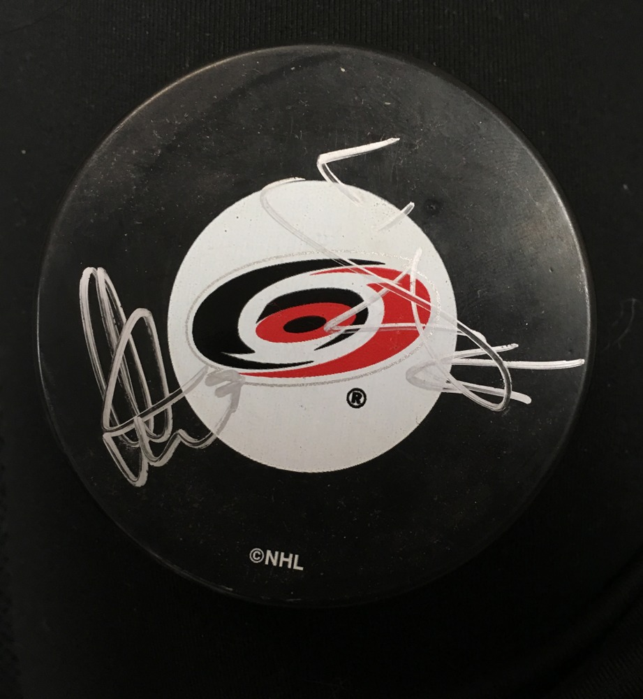 Rod Brind'Amour #17 and Niclas Wallin #7 Autographed Puck