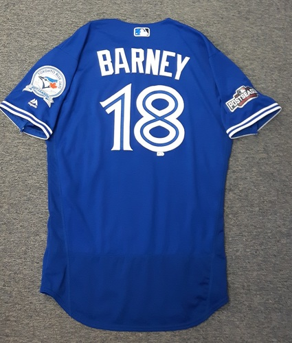 Photo of Authenticated Game Used 2016 Postseason Jersey - #18 Darwin Barney (Wild Card Game and ALDS Game 3). Barney went 0-for-4 in ALDS Game 3.