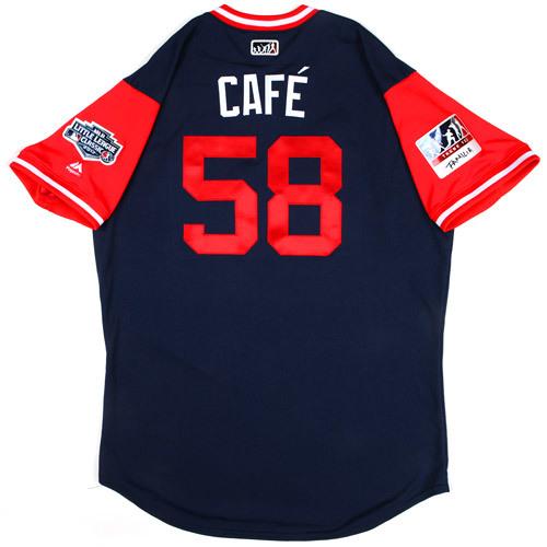 "Photo of St. Louis Cardinals Game-Used Little League Classic Jersey -  Jose ""Café"" Martinez #58"