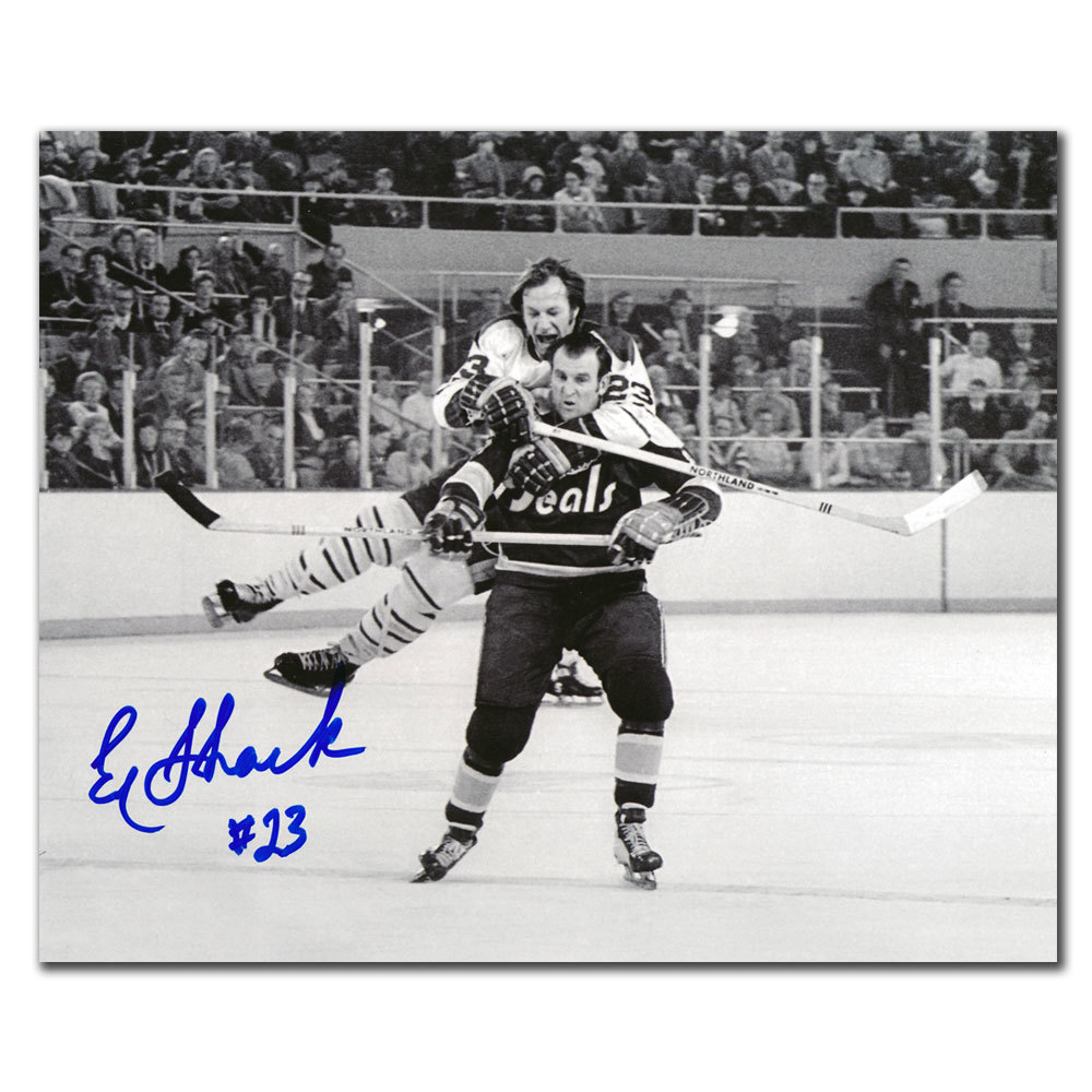 Eddie Shack Toronto Maple Leafs Jumping Gerry Ehman Autographed 8x10