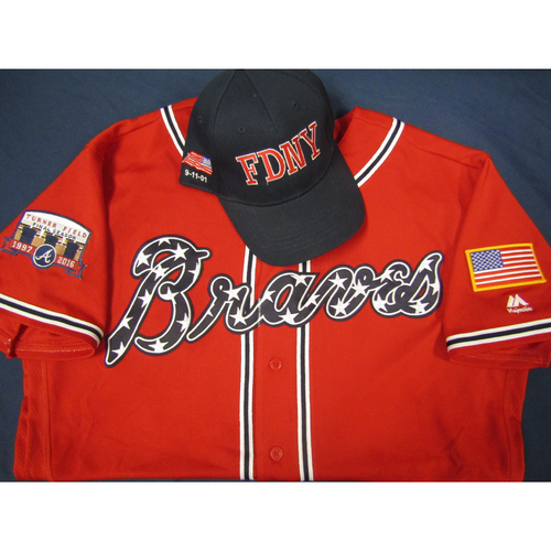 Photo of Braves 9/11 Remembrance Auction - Freddie Freeman Game-Used Autographed Military Red Jersey and First Responder Hat