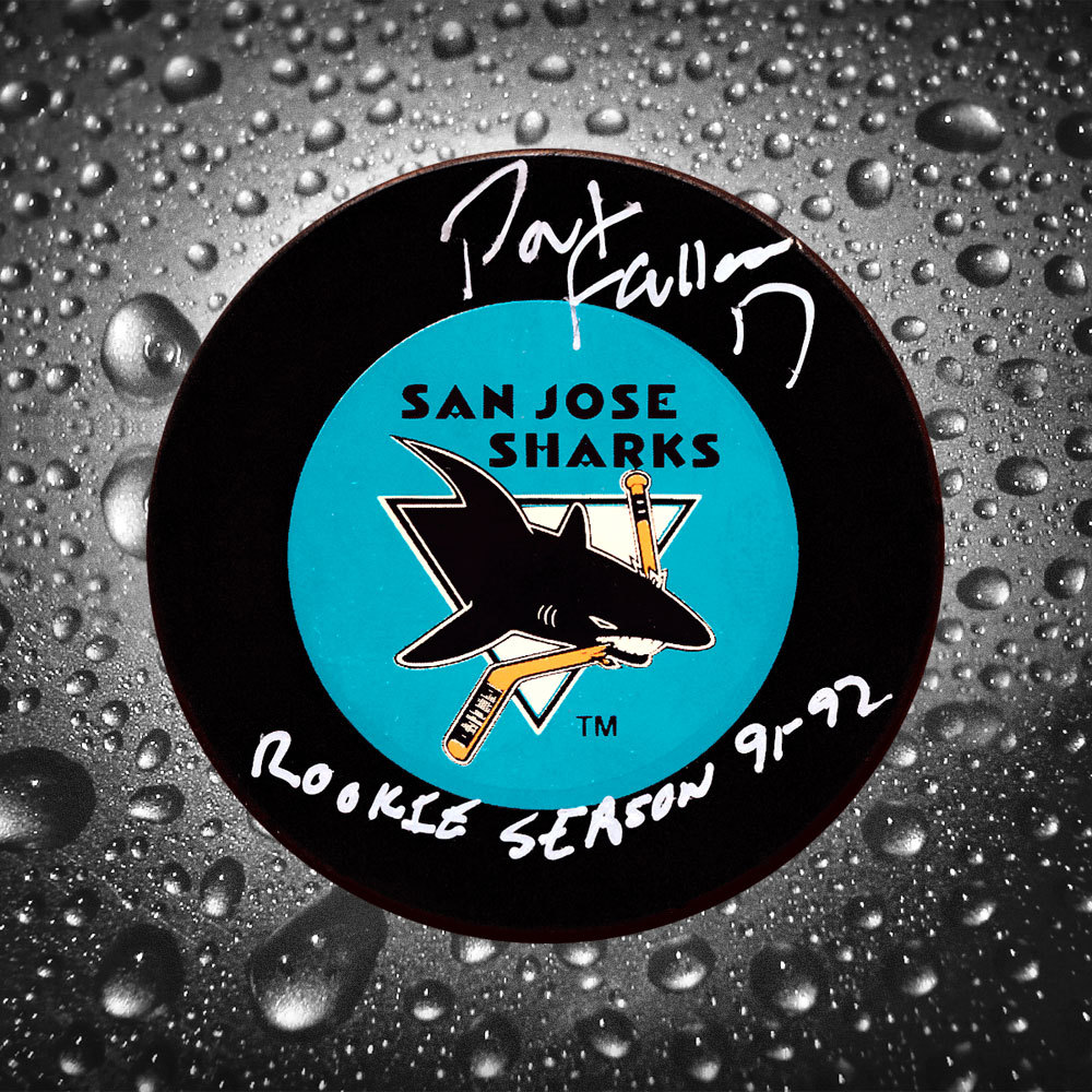 Pat Falloon San Jose Sharks Autographed Puck w/ Rookie Season 91-92 Inscription