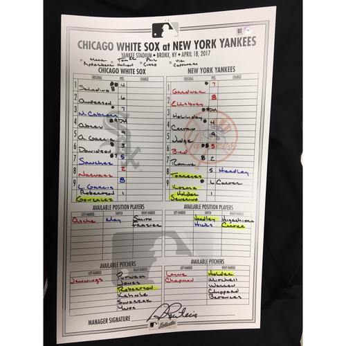 Photo of Large Lineup Card from April 18, 2017: Chicago White Sox v. New York Yankees
