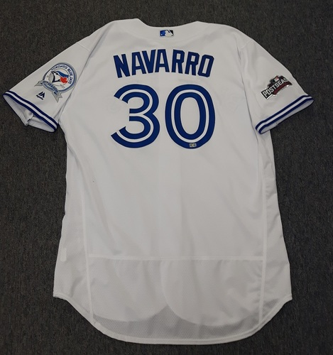 Photo of Authenticated Game Used 2016 Postseason Jersey - #30 Dioner Navarro (October 17: ALCS Game 3). Navarro went 1-for-1. Size 50.