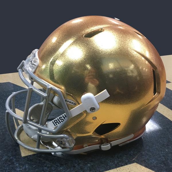 Authentic Game-Worn 2017 Notre Dame Helmet - Style 1 - Size L (D)