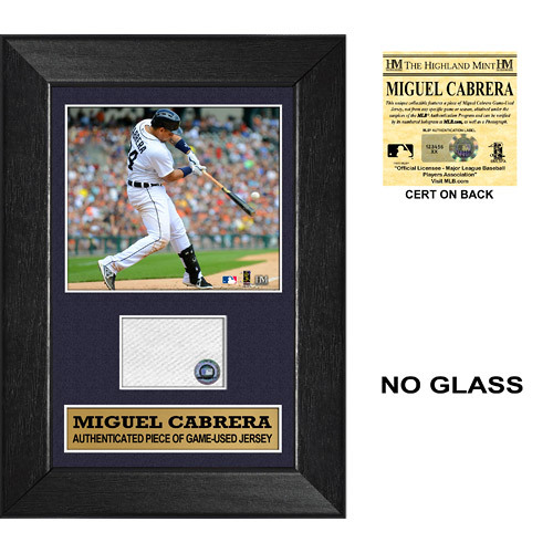 Photo of Detroit Tigers Miguel Cabrera Triple Crown & 2X MVP Mini Plaque with Piece of Game-Used Jersey Swatch