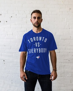 Toronto Blue Jays Unisex Toronto VS. Everybody T-Shirt Royal by Peace Collective