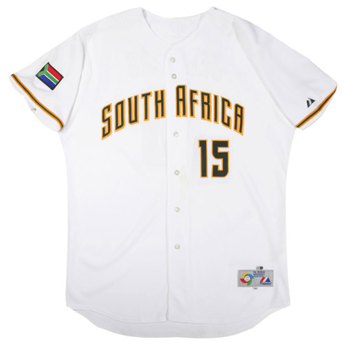 Photo of 2006 Inaugural World Baseball Classic: Bradley Erasmus (South Africa) #15 Game-Used Jersey