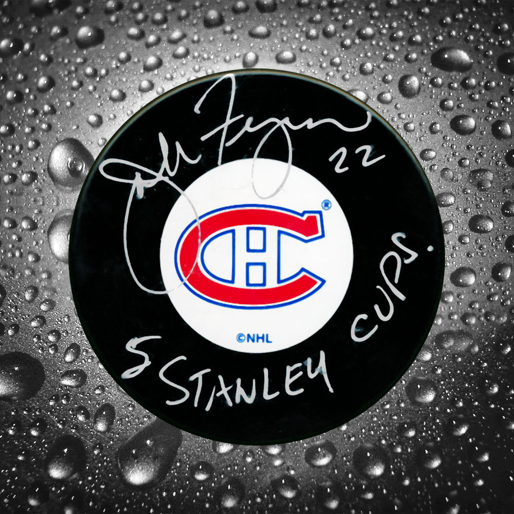 John Ferguson Montreal Canadiens 5 Stanley Cups Autographed Puck Slight Dusting