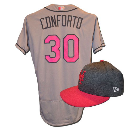 Photo of Michael Conforto #30 - Game Used Mother's Day Jersey and Hat - Conforto Goes 3-4, Double, Triple and Home Run, 3 RBI and 4 Runs Scored - Mets vs. Brewers - 5/14/17
