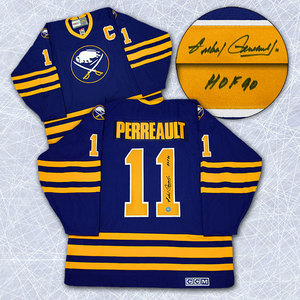 Gilbert Perreault Buffalo Sabres Autographed Blue Retro CCM Hockey Jersey
