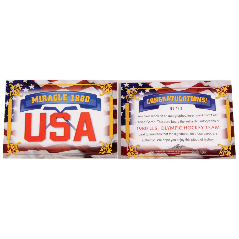 1980 US Olympic Hockey Team Autographed 2012 Leaf #USA Card- lImited Edition of 10 Pack Pulled