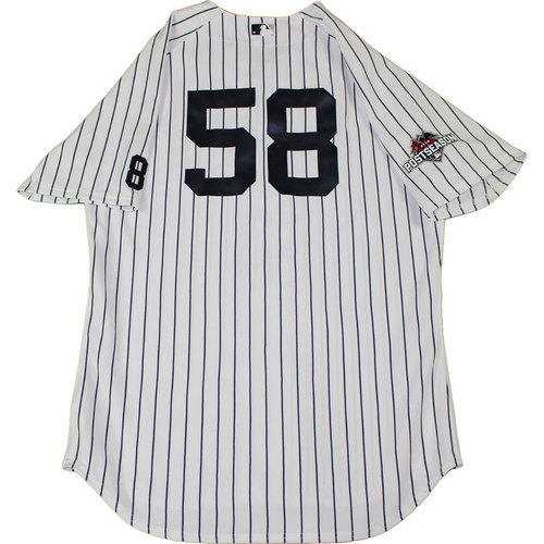 Photo of Larry Rothschild Uniform - NY Yankees 2015 Team Used #58 Pinstripe Jersey and Pants with Yogi Berra #8 Commemorative Patch & Postseason Patch (10/6/2015)