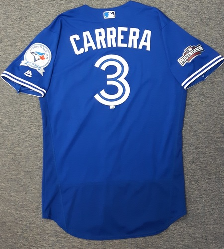 Photo of Authenticated Game Used 2016 Postseason Jersey - #3 Ezequiel Carrera (Wild Card Game and ALDS Game 3). Carrera went 2-for-4 in the Wild Card Game with 1 RBI. Carrera went 2-for-5 with 2 Runs in ALDS Game 3.
