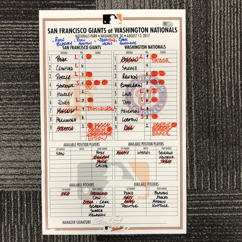 Photo of San Francisco Giants - HOLIDAY STEALS - 2017 Lineup Card - San Francisco Giants at Washington Nationals - August 13, 2017 - GM. 1 of Double Header - Chris Stratton - 6.2IP, 10 K's, 0 ER, 1 BB, WIN - Joe Panik 3-4, 2 RBI - Anthony Rendon - 2-4, 2 R...