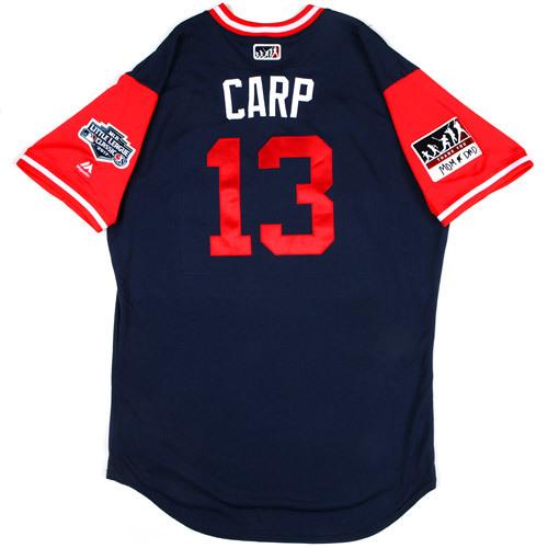 "Photo of St. Louis Cardinals Game-Used Little League Classic Jersey -  Matt ""Carp"" Carpenter #13"
