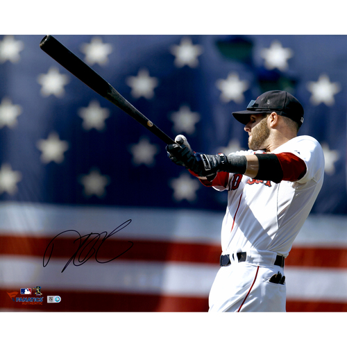 "Photo of Dustin Pedroia Boston Red Sox Autographed 16"" x 20"" Warm Up Photograph"
