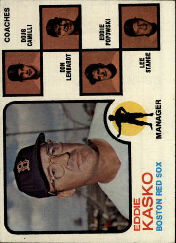 Photo of 1973 Topps #131A Eddie Kasko MG/Doug Camilli CO/Don Lenhardt CO/Eddie Popowski CO/No right ear/Lee S