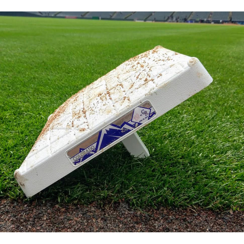 Photo of Colorado Rockies Game-Used Base from 4.25.17 vs the Nationals.  Trea Turner Cycle Game.
