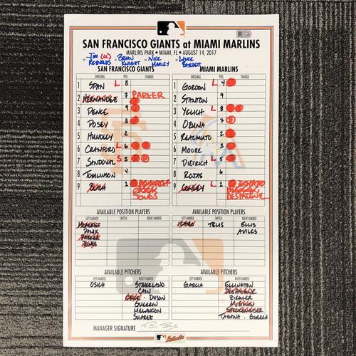 Photo of San Francisco Giants - HOLIDAY STEALS - 2017 Lineup Card - San Francisco Giants at Miami Marlins - August 14, 2017 - Hunter Pence - 2-4 - Giancarlo Stanton - 2-4, HR, 3 RBI, 1R - Ichiro Suzuki - PH 0-1