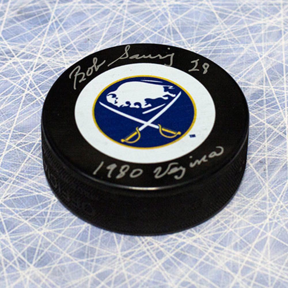 Bob Sauve Buffalo Sabres Autographed Hockey Puck with 1980 Vezina Note