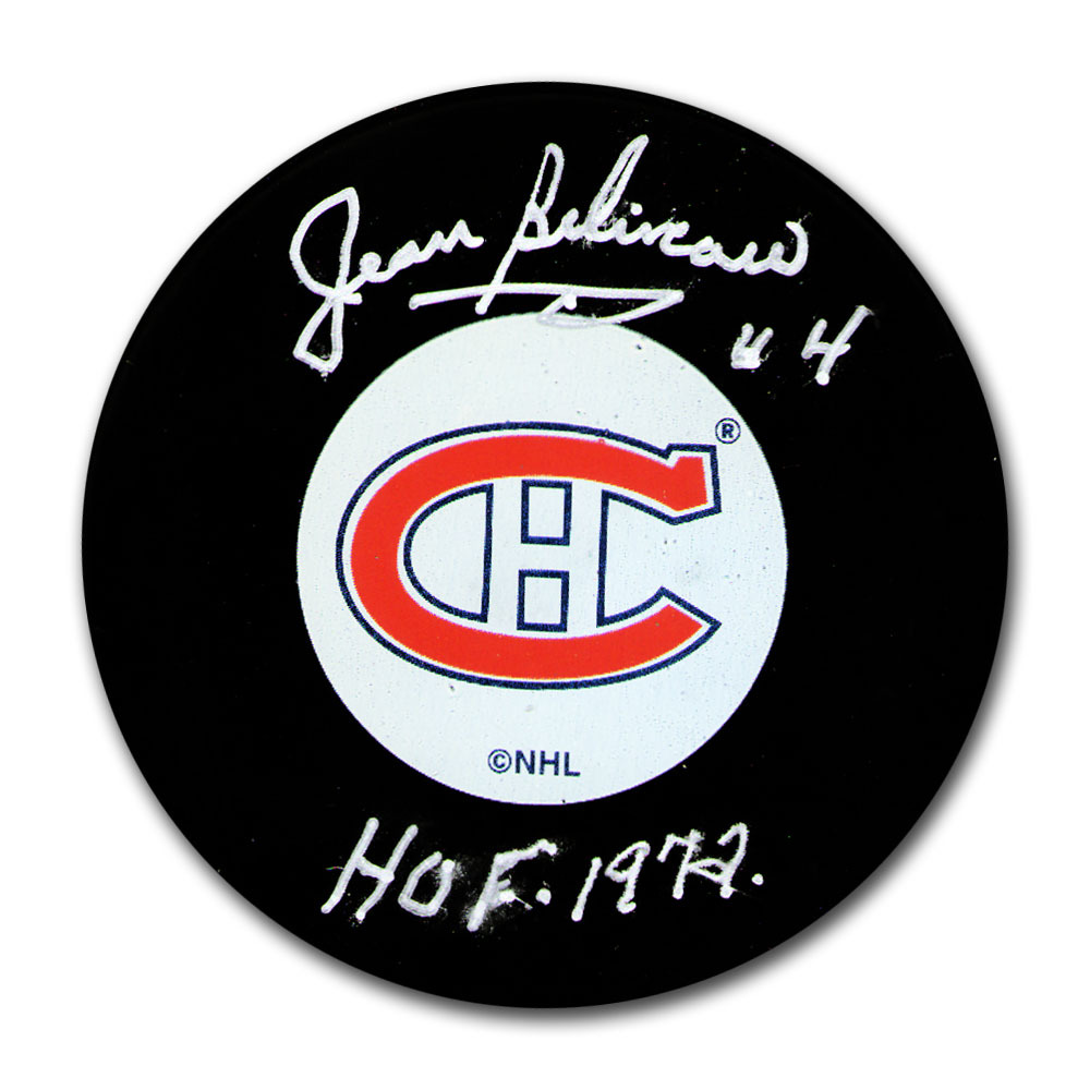 Jean Beliveau Autographed Montreal Canadiens Puck w/HOF 1972 Inscription