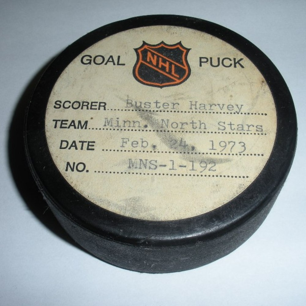 Buster Harvey  - Minnesota North Stars - Goal Puck - February 24, 1973 (North Stars Logo)