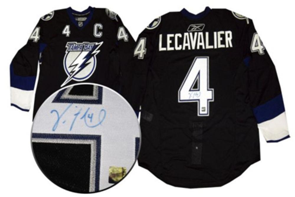 Vincent Lecavalier Signed Jersey Tampa Bay Lightning Pro Dark #53-410