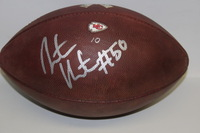 STS - CHIEFS JUSTIN HOUSTON SIGNED AND GAME USED FOOTBALL W/ STS RIBBON LOGO (2015)