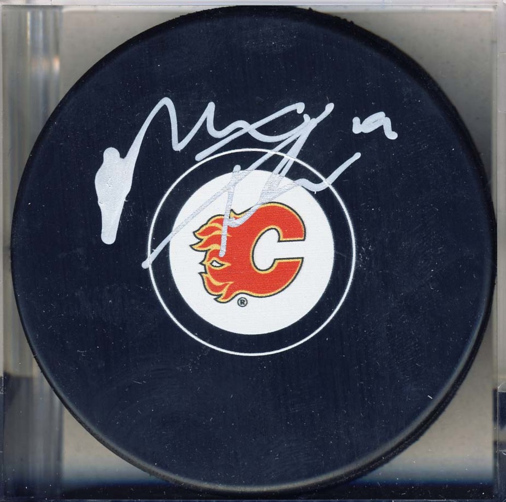 Matthew Tkachuk Calgary Flames Autographed Hockey Puck *Autograph Slightly Smudged*