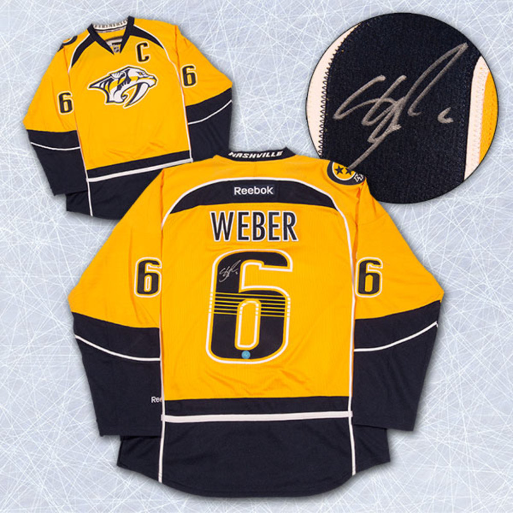 Shea Weber Nashville Predators Autographed Mustard Reebok Premier Hockey Jersey