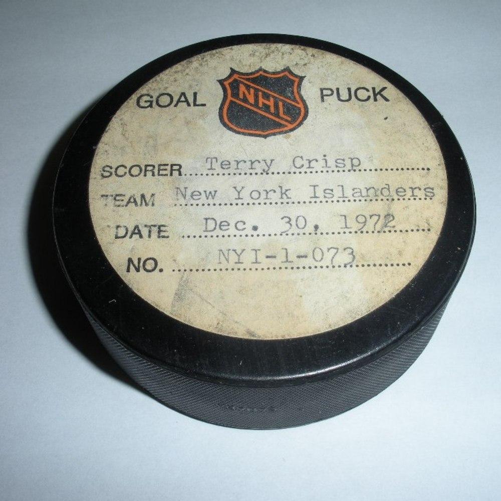 Terry Crisp - New York Islanders - Goal Puck - December 30, 1972 (Canucks Logo)