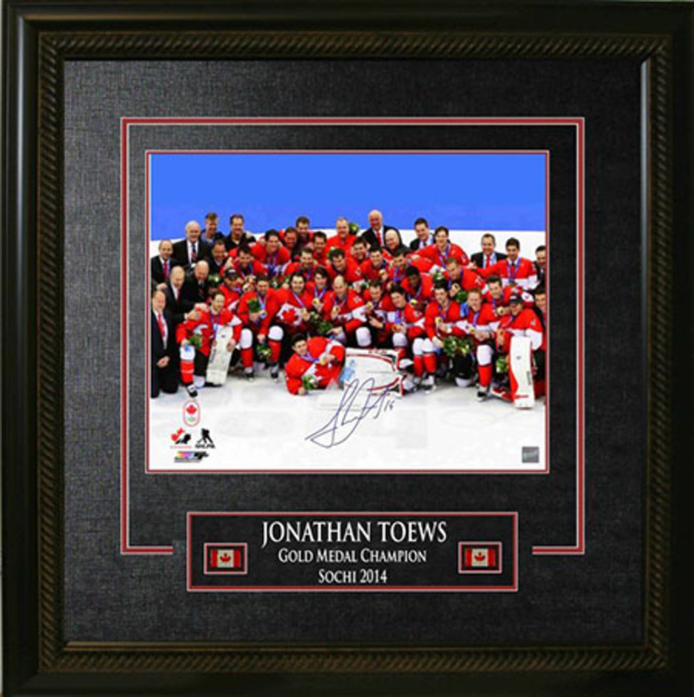 Jonathan Toews - Signed & Framed 16x20 Etched Mat - Team Canada 2014 Olympics