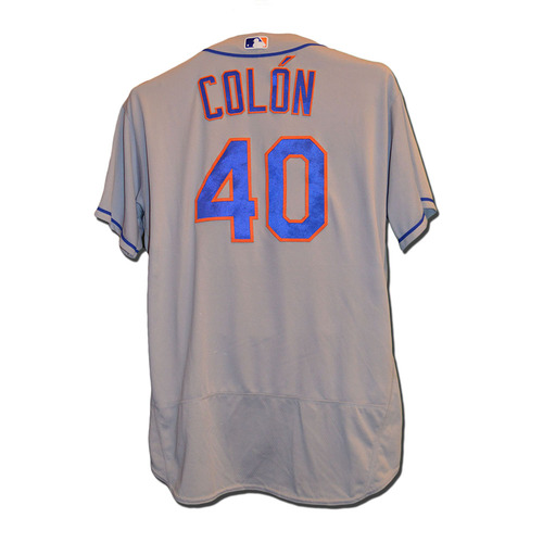 Photo of Bartolo Colon #40 - Game Used Road Grey Jersey - 6 IP, 1 ER, Earns 10th Win of 2016 - Mets vs. Yankees - 8/4/16