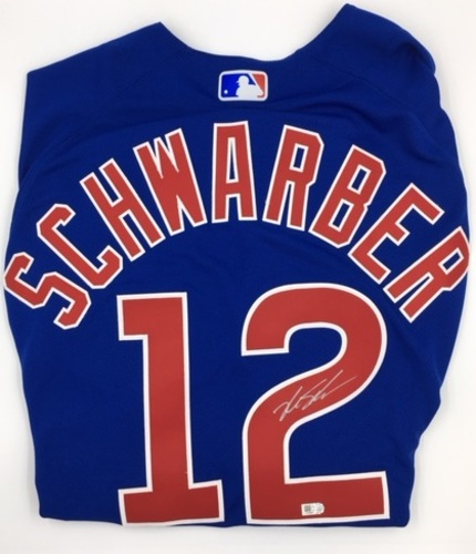 Photo of Kyle Schwarber Autographed Authentic Cubs Blue Jersey