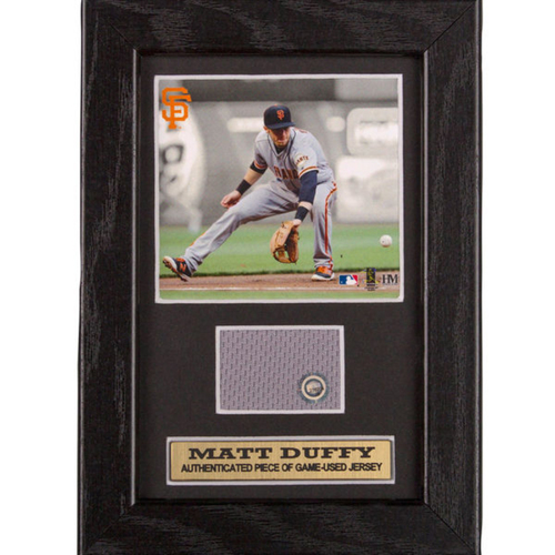 Photo of San Francisco Giants - Matt Duffy Game-Used Jersey Swatch Frame