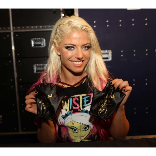 Photo of Alexa Bliss WORN & SIGNED Gold Gloves (Connors Cure - 09/04/17)